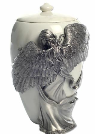 Pewter Angel' s Embrace cremation urn