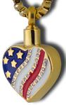 heart with flag cremation pendant