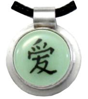 Love chinese character pendant in green