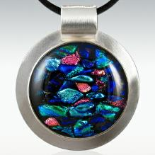 round sterling silver and Dichroic Glass Ash & Lock of Hair Keepsake