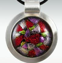 round lavender and red dichroic cremation pendant