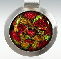red and green sterling silver dichroic cremation pendant