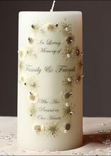memorial candle with crystal and pearl cross