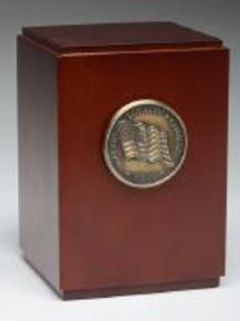 military medalion wood urn urn box