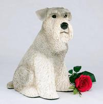 Gray schnauzer urn with ears down