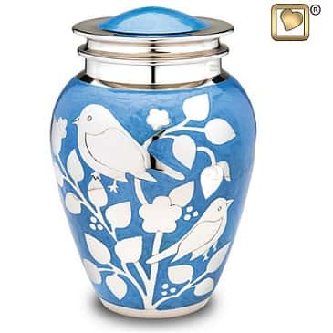 blue brass bird urn
