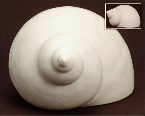 turban shell from the ocean clay cremation urn