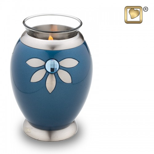 silver flower candle urn