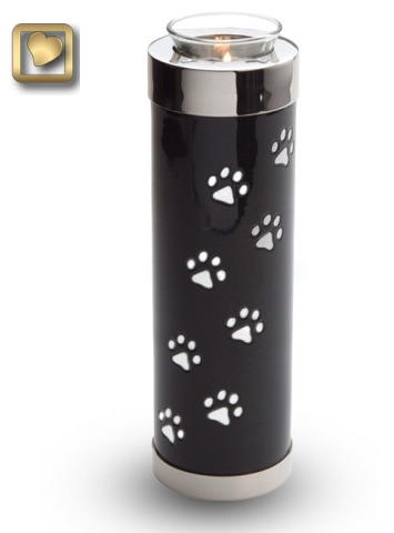 Tall black paw print candle urn