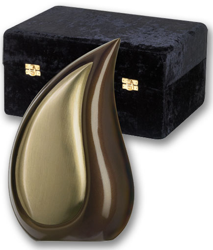 Teardrop brass urn and velvet case