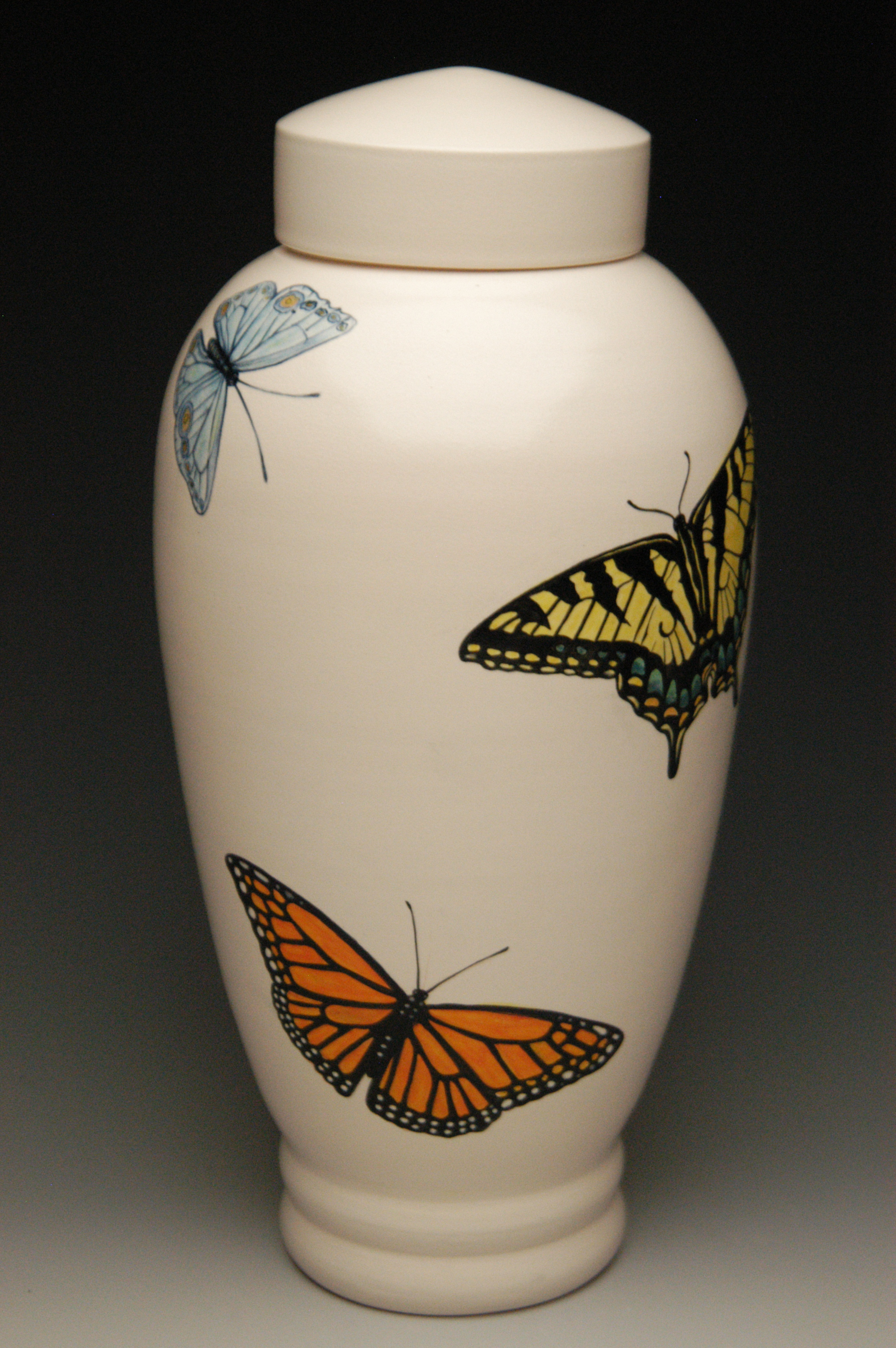 Hand painted butterflyceramic cremation urn