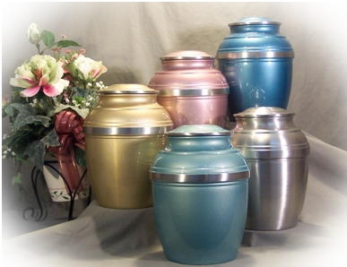 colored  polished pewter urns