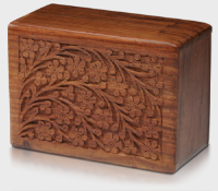 rosewood urn with tree of life carving