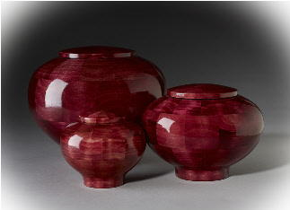 hand dyed round wood cremation urns