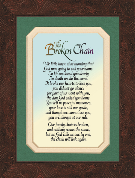 broken chain picture frame with  green mat