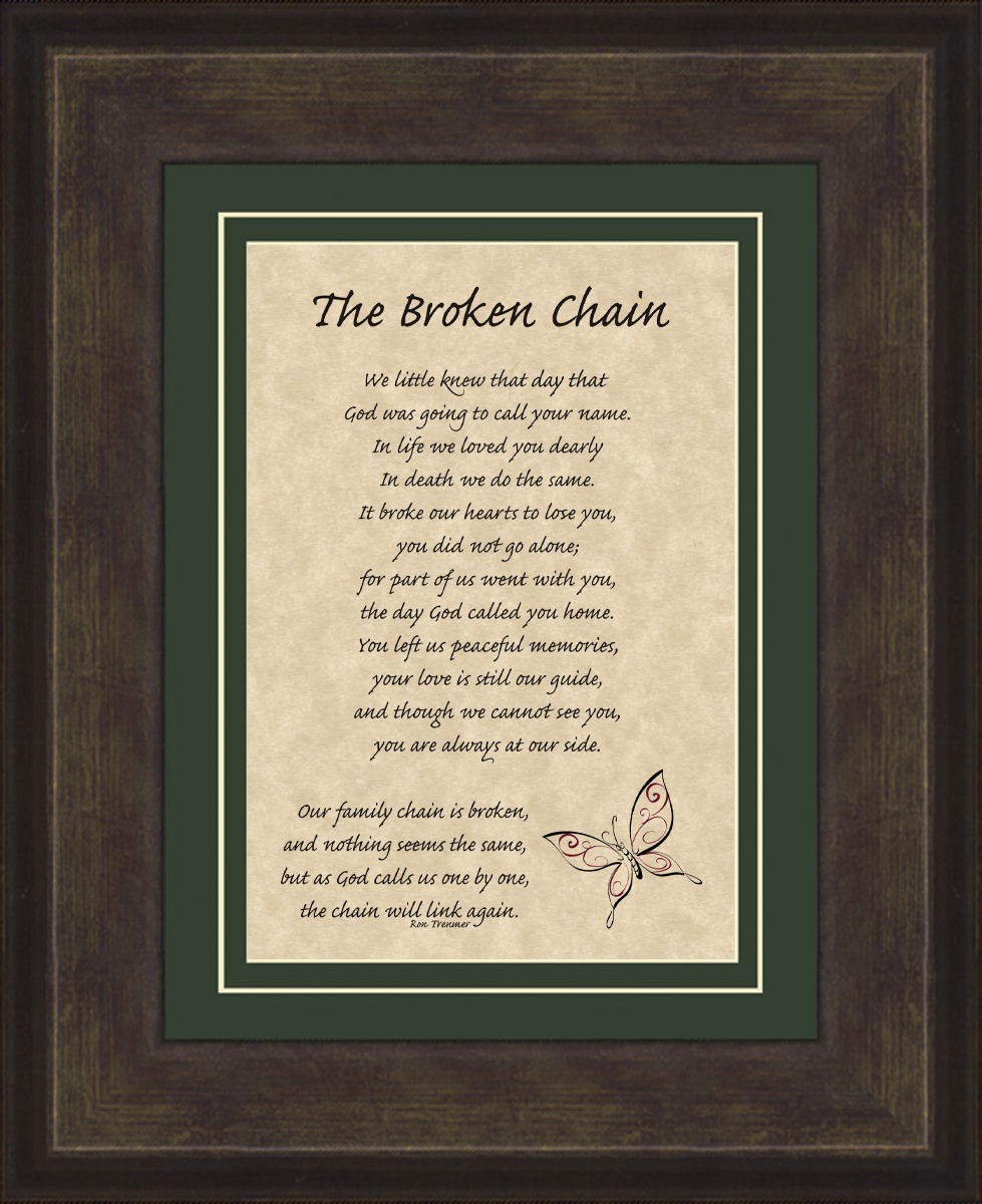 broken chain picture frame with brown frame