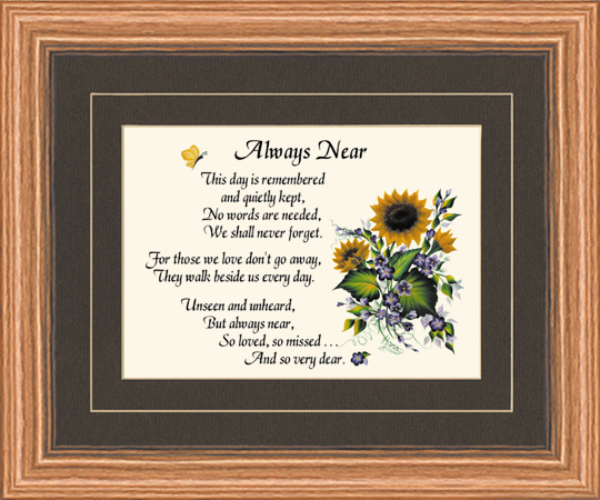 Always near Memorial Frame and poem