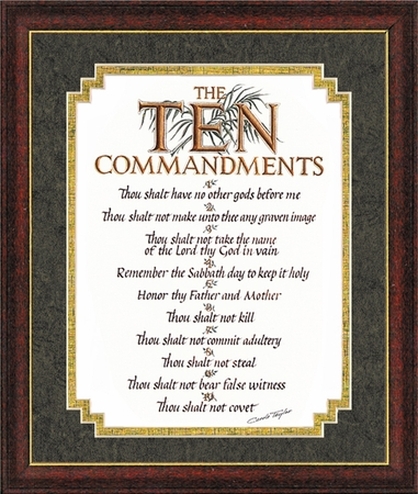 The Ten Commandments in decorative frame