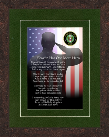 Heaven Has One More Hero Framed army memorial