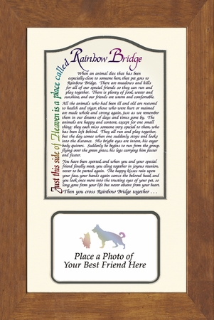 "8"" X 13 pet picture frame with rainbow bridge poem"